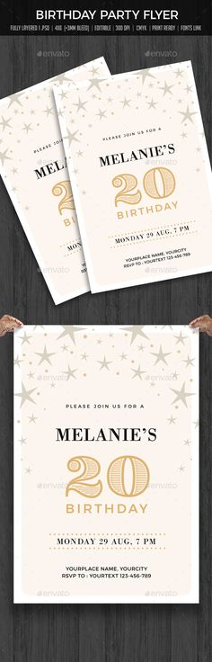Buy Birthday Party Invitation by creativeartx on GraphicRiver. Invitation Card Birthday, Invitation Flyer, Anniversary Invitations, Invitation Design, Baby Shower Invitations, Wedding Invitations, Invite, 20th Birthday, Gold Birthday