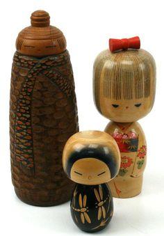 Unique carved vintage Kokeshi Dolls