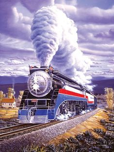 Panel Locomotion By Blank Quilting-Steam Engine-River-Trestle-Railroad-1 Yd
