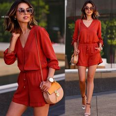 Cheap materials fashion, Buy Quality material girl directly from China material pony Suppliers: Stylish Lady Women's Fashion Casual Red Sexy Long Sleeve V-neck Elastic Waist Short Jumpsuit Romper Features: