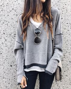 New Grey V-neck Long Sleeve Fashion Going out Pullover Sweatshirt Look Fashion, Fashion Outfits, Womens Fashion, Fashion Tips, Feminine Fashion, Ladies Fashion, Cheap Fashion, Fashion Fall, 2018 Winter Fashion Trends
