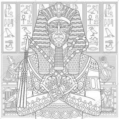 Egyptian Pharaoh Adult Coloring Page. by ColoringPageExpress