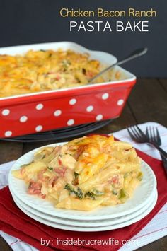 CHICKEN BACON RANCH PASTA BAKE from Inside BruCrew Life is #9 on our list of the BEST CHICKEN BACON RANCH DINNER RECIPES || Featured on The Best Blog Recipes #dinner #recipes #chickendinner #cheesy
