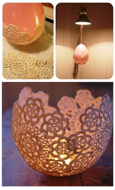 Doilie Candleholder for the tablescape