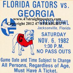1982 Georgia vs. Florida Football Ticket Coasters.™ Available soon. Ceramic drink coasters made from historic football tickets. Printed in the U.S.A. and shipped within 24 hours. Only $29.99 http://www.shop.47straightposters.com/Christmas-Football-Gifts_c68.htm Christmas football gifts! The best football gifts in America!™ Made from authentic game tickets. #47straight #gifts