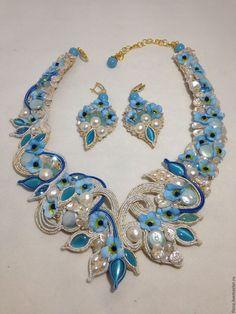 Купить Комплект Незабудка - бирюзовый, украшение, колье, серьги, комплект, цветы из шелка, натуральный жемчуг