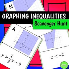Students practice graphing linear inequalities, but instead of just sitting at their seats doing a worksheet, they can be up moving around the room! This self-checking scavenger hunt contains 10 problems.Post the pages around your room in a random order. Creative Teaching, Teaching Math, Teaching Tools, Teaching Ideas, Math Resources, Math Activities, Graphing Linear Inequalities, Student Information, Secondary Teacher