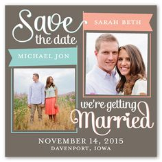 Flag the Date 5x5 Flat Save the Date Announcement   Shutterfly