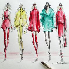 Sketching Versace's AW15 Collection, by Jeanette Getrost