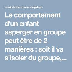 Le comportement d'un enfant asperger en groupe peut être de 2 manières : soit il va s'isoler du groupe, soit il va s'imposer, vouloir imposer sont jeu, devenir la tête du groupe pour imposer son fonctionnement.