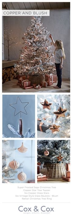 Add a touch of femininity to your Christmas decor with shimmering copper and vintage style glass in soft blush tones.