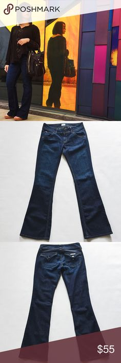 """Hudson Bootcut Jeans Hudson Bootcut Jeans in a dark wash featuring classic style in a curvy fit.  Low waist for a hip-hugging silhouette.  Pre-loved but in excellent condition.  Slight fraying on one leg, see pic.  No other holes, stains or tears.   •  BUNDLE outfit to SAVE and GET THE LOOK!  •  Measurements laying flat: Waist (across): 15.5"""" Hips: 18.5"""" Inseam: 32.5"""" Rise: 7.75"""" Hudson Jeans Jeans"""