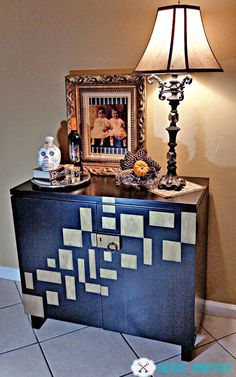 """Unique Junktique entered this buffet into the September Fab Furniture Flippin' Contest, whose theme was """"Geometric Design"""".  GF was honored to be the sponsor!  This piece was painted with General Finishes Lamp Black Milk Paint and sealed with High Performance Topcoat."""