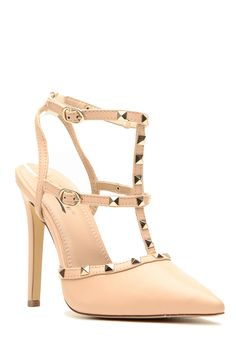 Nude Faux Leather Ankle Strap Studded Pointed Toe Heels @ Cicihot Heel Shoes online store sales