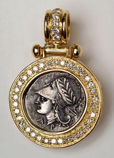 Christian Wardle pendant. diamonds, gold, ancient Greek Corinthian coin.