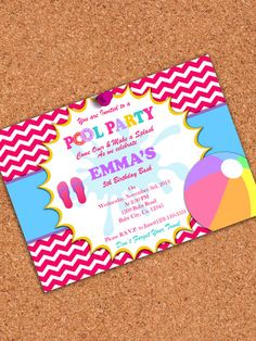 PRINTABLE INVITATION, Girl Pool Party Invitation, Pool Birthday Party (5x7) on Etsy, $5.00