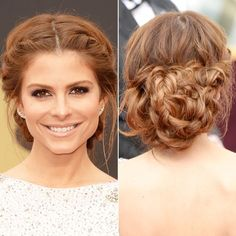 #WeddingUpdo inspiration: At the 2014 Oscars, Maria Menounos gave the basic milkmaid style an update by wrapping the ends of her hair into a messy bun