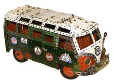 Meccano Volkswagen camper from the film Convoy, by Philip Webb Lego Camper Van, Vw Camper Bus, Volkswagen Bus, Vw T1, Volkswagen Beetles, Campers, Vw Camping, Combi Vw, Mini Bus