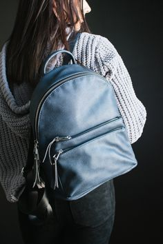 Altair Pebbled Backpack Navy