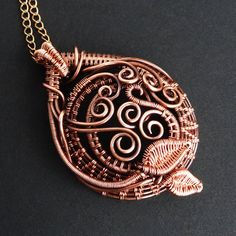 Vine Dance Copper Pendant Necklace by sparkflight (Ruth Jensen)