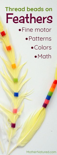 Beading for kids | Bead threading onto feathers | Feather craft