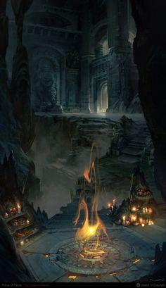 Catacombs, Herve Groussin aka Nuro on ArtStation at https://www.artstation.com/artwork/93YL