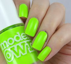 MODELS OWN - Flip Flop is a highlighter green. 3 COATS #nail #nails #nailpolish