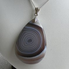 Superb Botswana Agate Silver Pendant and Chain £33.00