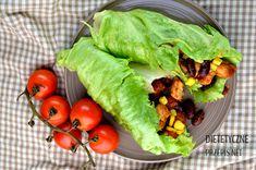 Niskokaloryczne burritos w liściach sałaty | – Dietetyczne przepisy – Burritos, Tacos, Mexican, Aga, Ethnic Recipes, Food, Per Diem, Smothered Burritos, Meal