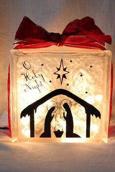 lighted glass blocks | Christmas Santa or Nativity Lighted Glass Block by ... | Christmas