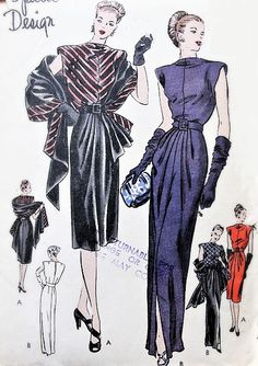 party outfit evening FABULOUS Evening Gown or Cocktail Dinner Party Dress and Stole Pattern VOGUE Special Design Beautiful Details Bust 32 Vintage Sewing Pattern Vintage Fashion 1950s, Fashion Illustration Vintage, Mode Vintage, 1940s Fashion Dresses, Vintage Dresses, Vintage Outfits, Vintage Vogue Patterns, Gown Pattern, Dress Making Patterns