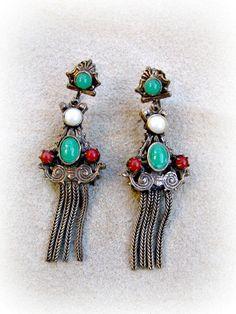 Etruscan Revival Fringe Earrings Bronze by ToadSuckTreasures