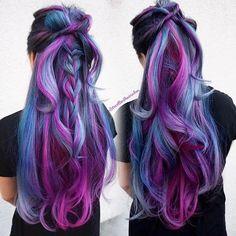 Our favorite hair trends of 2016 (so far!): half-up hair by Kim Ketcham, - Our favorite hair trends of 2016 (so far!): half-up hair by Kim Ketcham, # - Cute Hair Colors, Gorgeous Hair Color, Cool Hair Color, Wavy Hair, Dyed Hair, Blue Hair, Pelo Multicolor, Color Fantasia, Colorful Hair