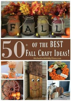 Are you as excited for fall as I am? I can't wait to try a few of these DIY projects!  http://kitchenfunwithmy3sons.com/2016/08/diy-fall-craft-ideas.html/