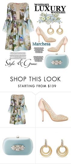 """""""Style & Grace"""" by hastypudding ❤ liked on Polyvore featuring Marchesa, Badgley Mischka, David Yurman, contest, polyvorecommunity, fashionset, bellsleeves and AmiciMei"""