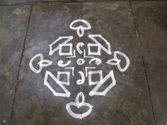 Rathna's Kolam, 11-1 ner pulli kolam, Lamp Kolam, Deepam Kolam,