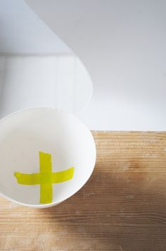 inspiration for papier mache bowl with cross made of masking tape