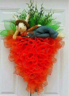 Lying Bunny On A Carrot Wreath