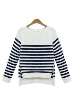 { 2 Colors } Nautical Stripe Zip Up Slit Relaxed fit Crop Sweater