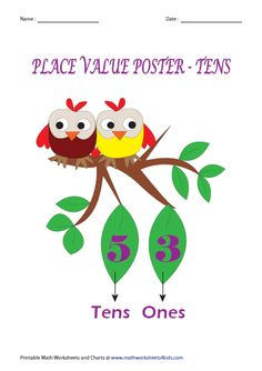 Place Value Posters: Tens Place Value Poster, Place Value Chart, Place Value Worksheets, Printable Math Worksheets, Write In Standard Form, Tens And Ones, Place Values, Posters, Activities