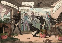 1827 - Caricature print that illustrates in comic key the elaboration of the typical tobacco of the Havana before a pair of western outsiders. Edited in London.