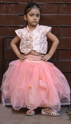A #beautiful ballroom puffy #skirt and jacket style top in a subtle pastel peach.