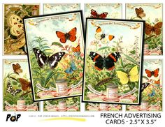 French Advertising Cards Digital Backgrounds  ATC by popstock - $2.50  This set of printable art cards feature vintage French advertising. With their bright colors and butterfly subject matter, you'll find plenty of ways to work them into your projects!