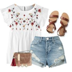 Embroidered summer top & ripped denim shorts