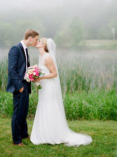 Foggy wedding photos with bride and groom | Pier Wisconsin wedding   Photo by Emily Steffen