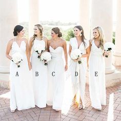 Elegant Mismatched Cheap Long Wedding Party Bridesmaid Dresses, WG441