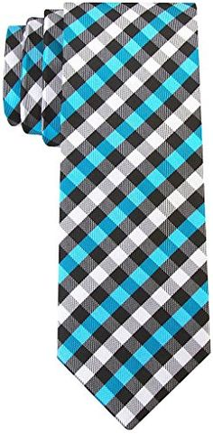 Scott Allan Men's Gingham Plaid Necktie - Turquoise/Black Scott Allan Collection