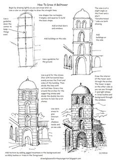 Free Printable How To Draw Worksheet, Draw A Bell Tower