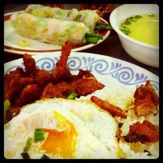 Vietnamese Grilled Pork Chop with Broken Rice & Rice Paper Prawn Rolls