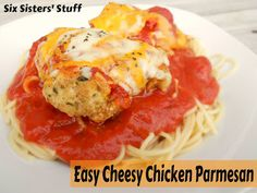 Easy Cheesy Chicken Parmesan- this can be made in about 30 minutes and it tastes amazing! My kids love this chicken! SixSistersStuff.com #chicken #recipe